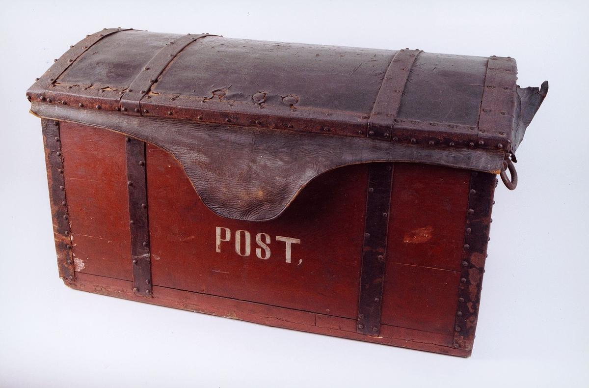 Postmuseet, gjenstander, postemballasje, kiste, postkiste, Post malt på siden.