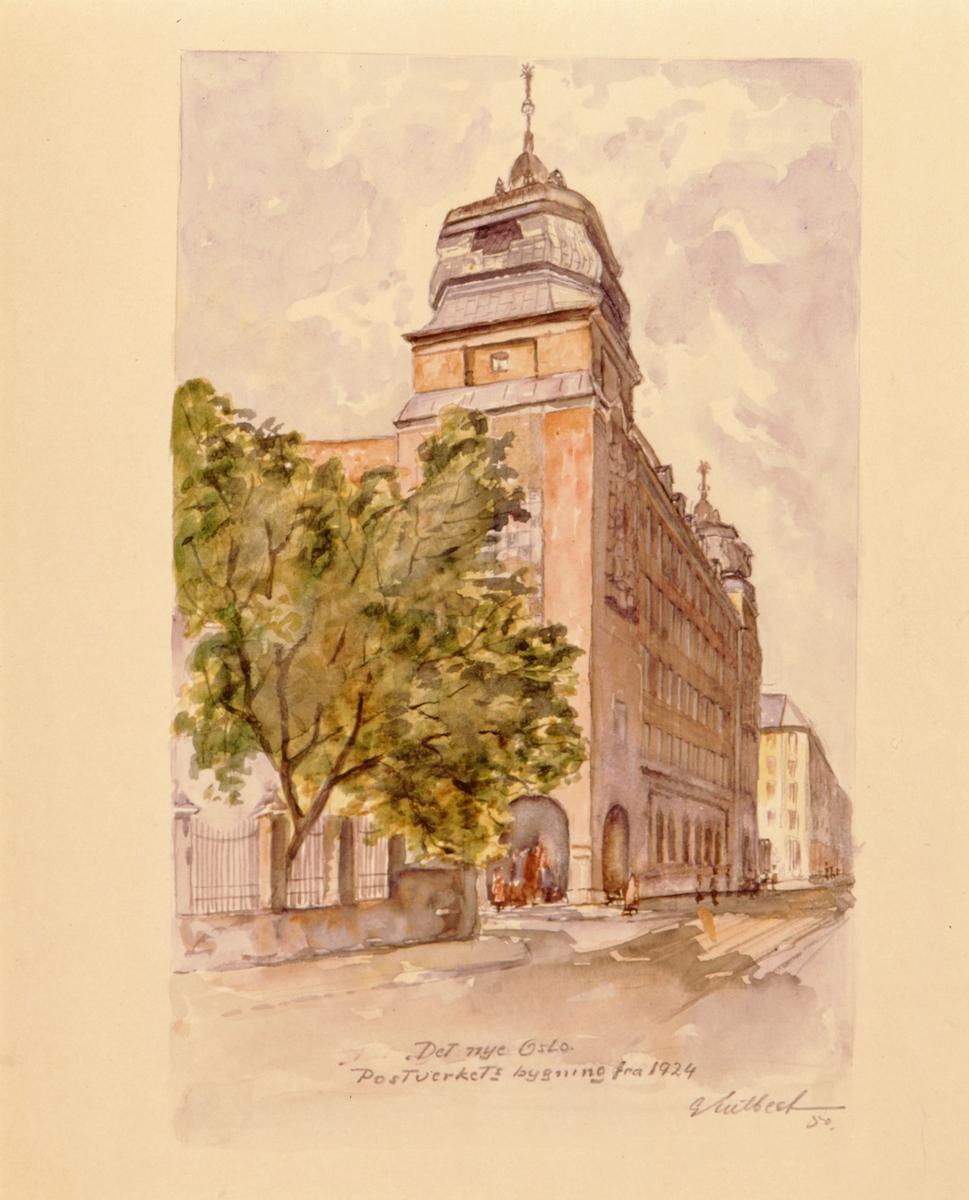 """postmuseet, kunst, akvareller, G. Kulbeck: """"Det nye Oslo, Postverkets bygning fra 1924"""", eksteriør, motivet finnes også på CD-rom PRO1, bilde nr 99"""