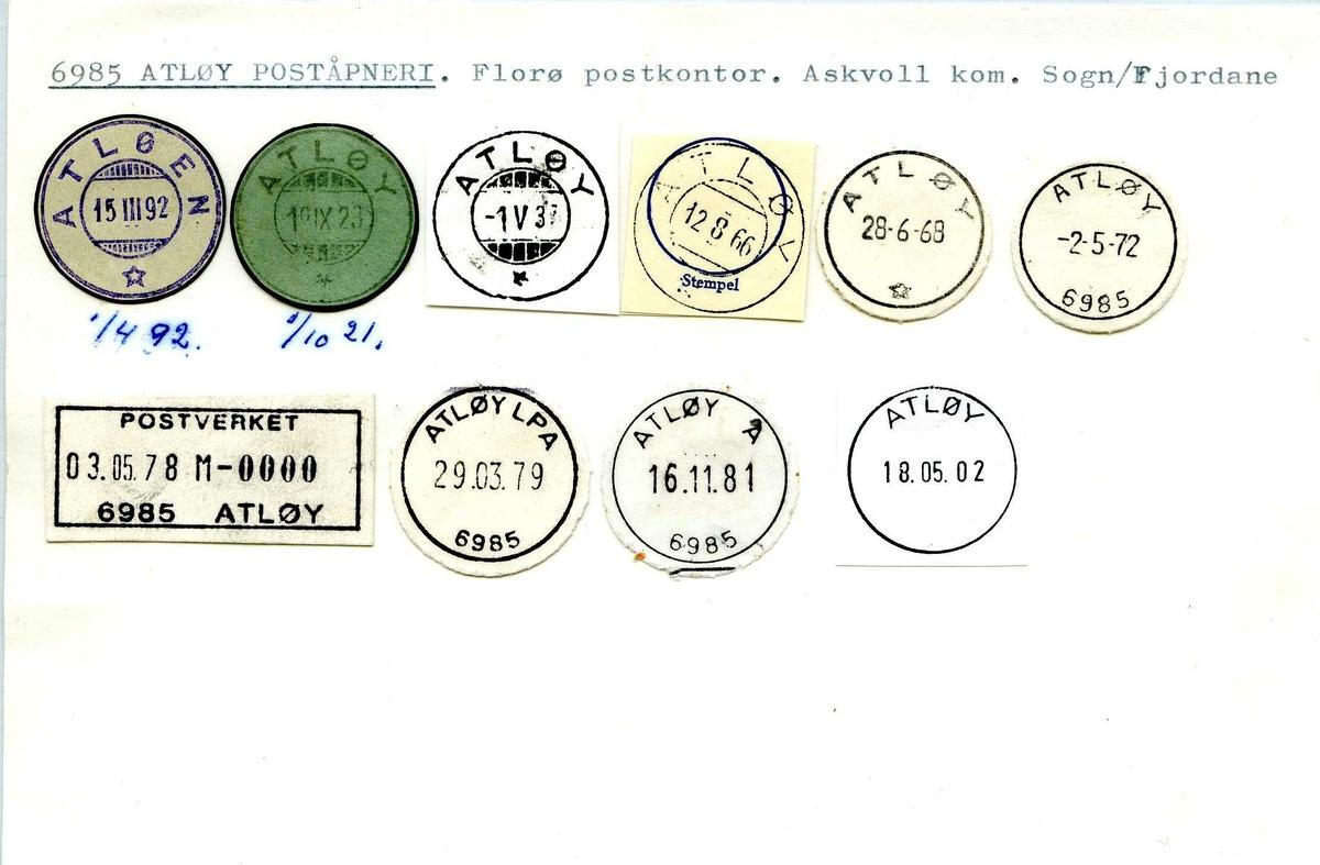 Stempelkatalog, 6985 Atløy, (Atløen), Florø, Askvoll,  Sogn og Fjordane
