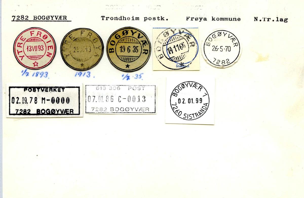Stempelkatalog,7282 Bogøyvær, Trondheim postk., Frøya kommune. N.Tr.lag (Ytre Frøien, Ytre Frøya)