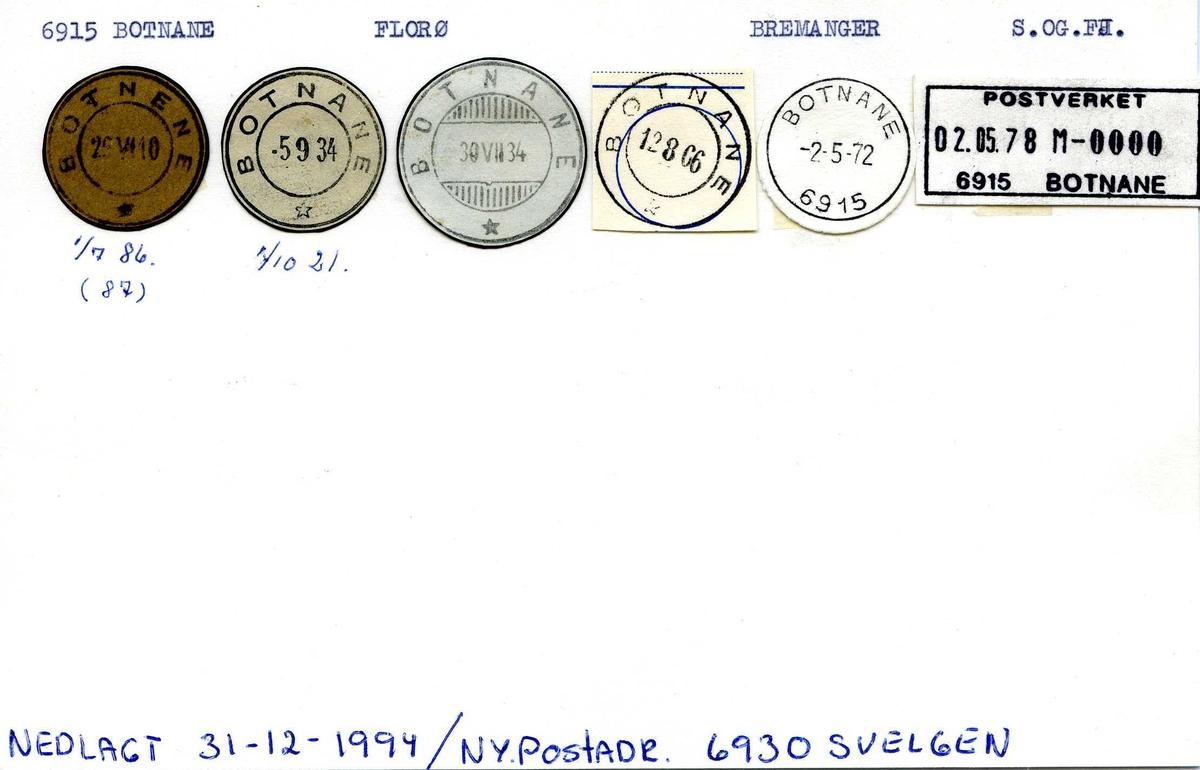 Stempelkatalog, 6915 Botnane (Botnene), Florø, Bremanger, Sogn og Fjordane
