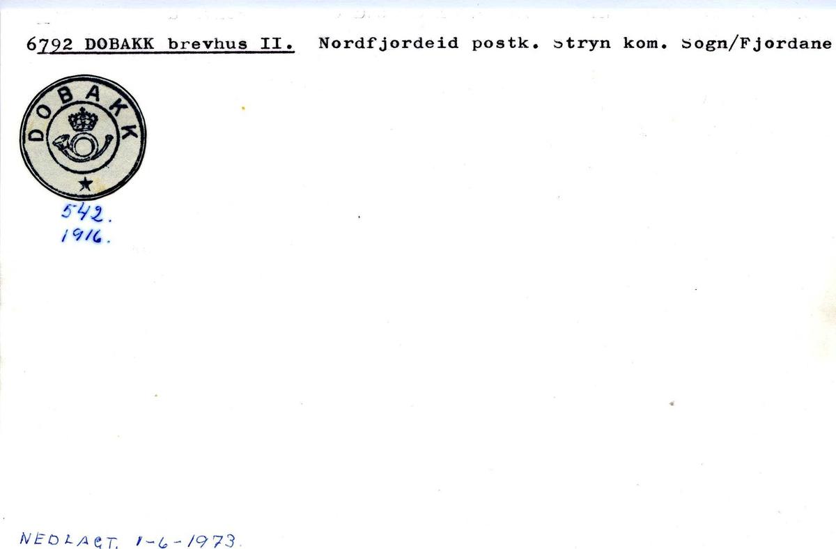 Stempelkatalog, 6792 Dobakk. Stryn, Sogn og Fjordane