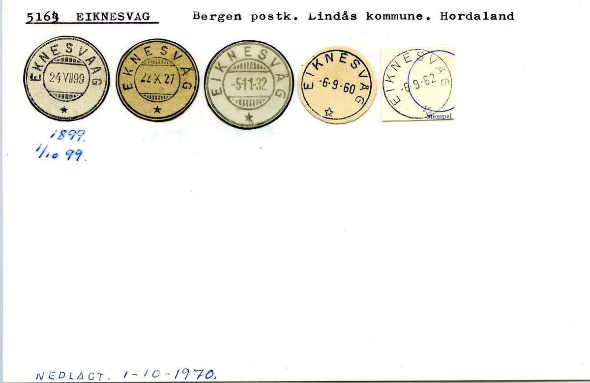Stempelkatalog.5163 Eikenesvåg, Bergen postk., Lindås kommune, Hordaland