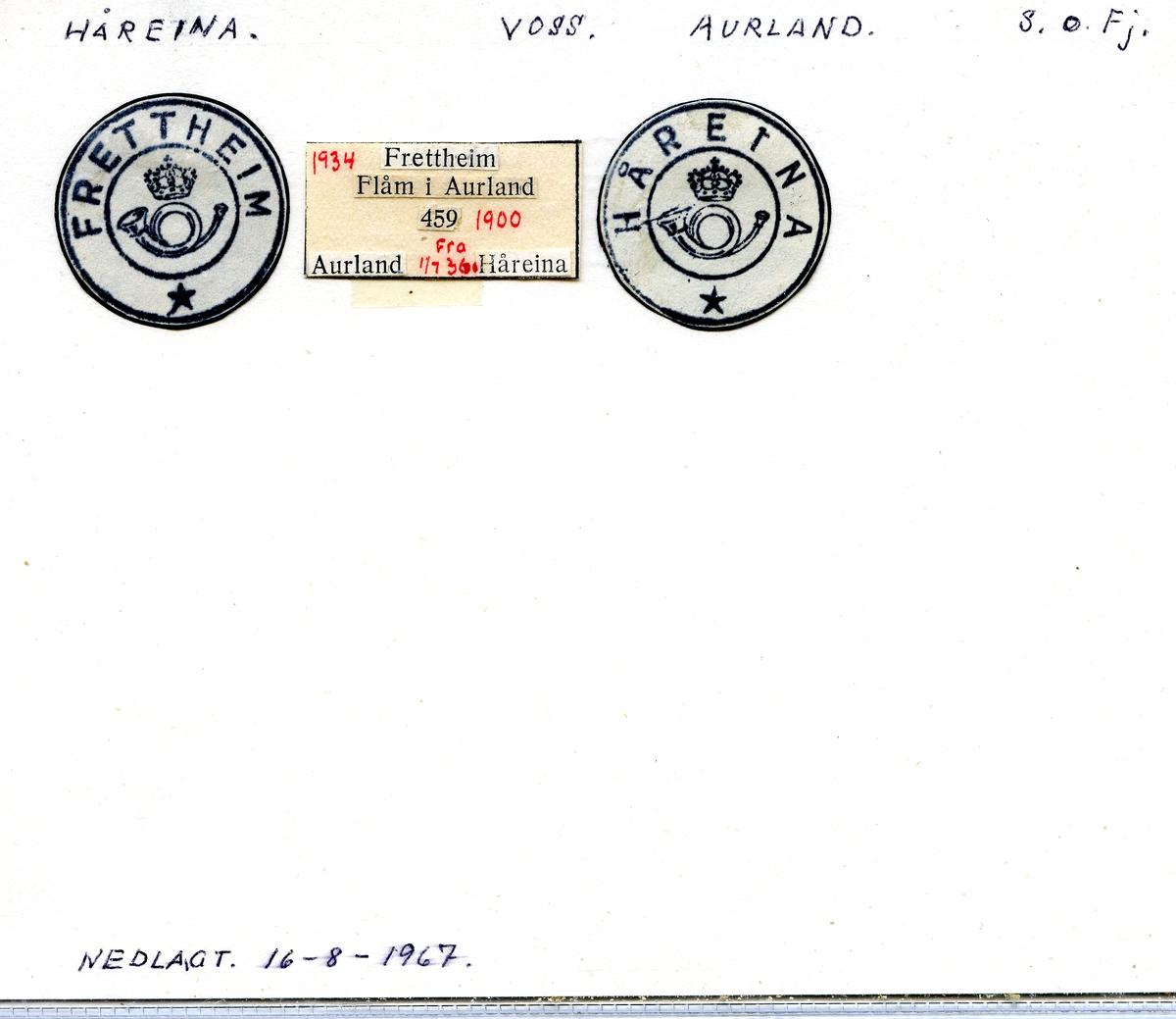 Stempelkatalog. Håreina. (Frettheim). Voss postkontor. Aurland kommune. Sogn og Fjordane fylke.