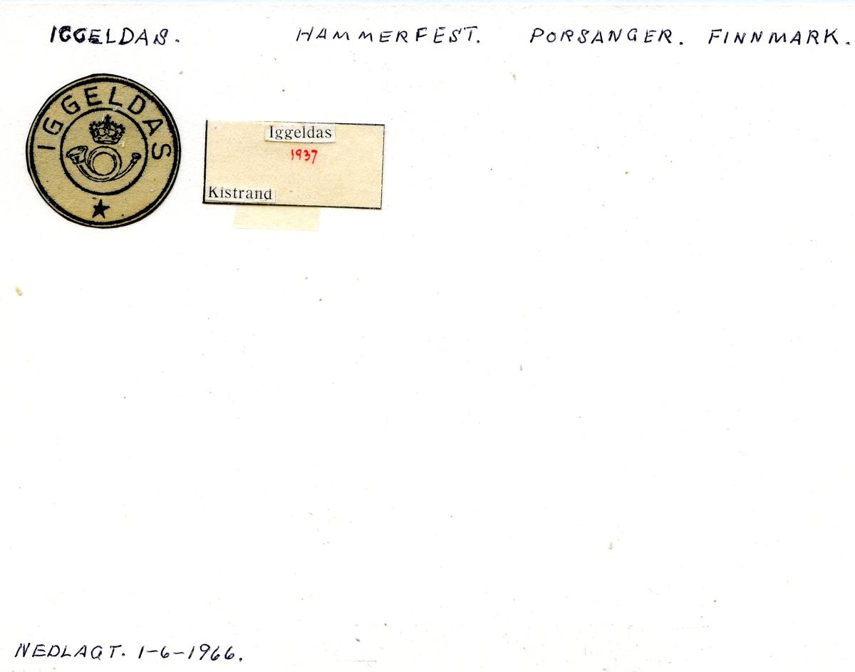 Stempelkatalog. Iggeldas. Hammerfest postkontor. Porsanger kommune. Finnmark fylke.
