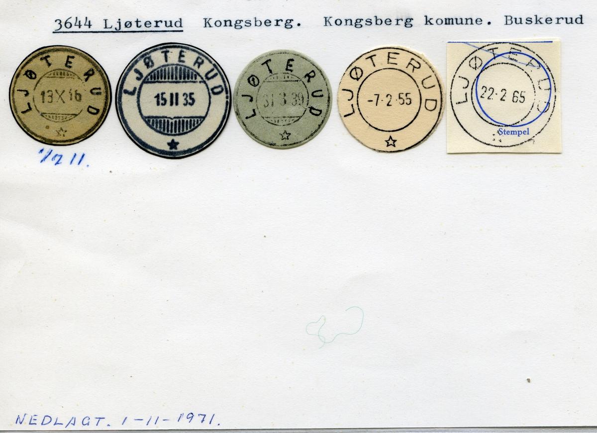 Stempelkatalog, 3644 Ljøterud, Kongsberg, Kongsberg kommune, Buskerud