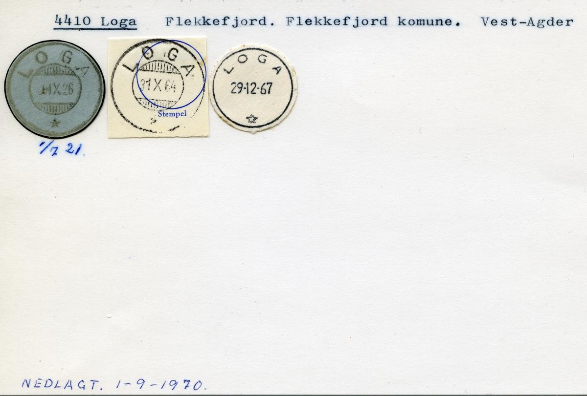 Stempelkatalog,4410 Loga, Flekkefjord, Flekkefjord kommune, Vest-Agder