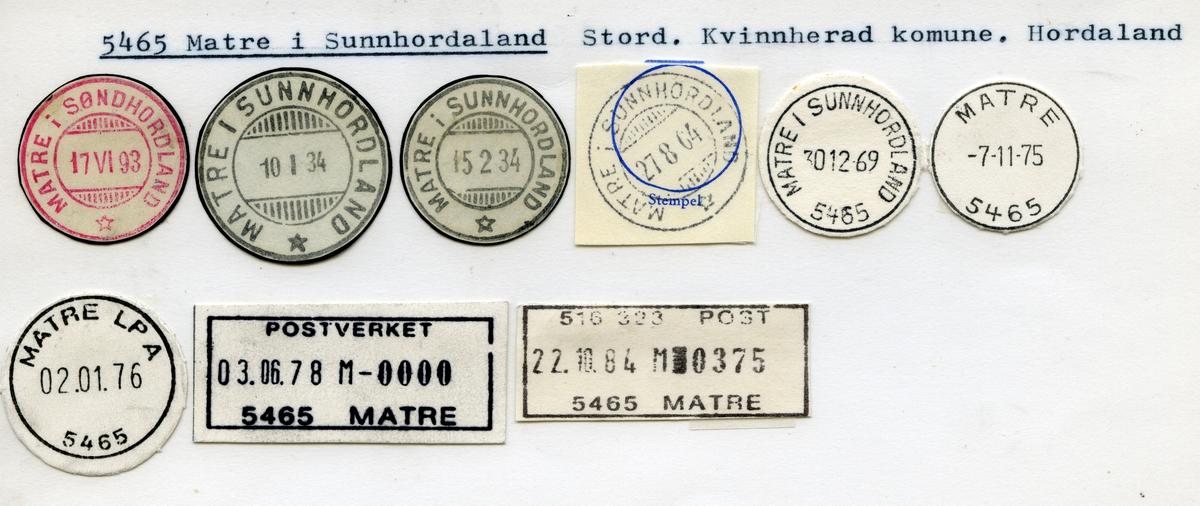 Stempelkatalog  5465 Matre i Sunnhordaland, Kvinnherad kommune, Hordaland