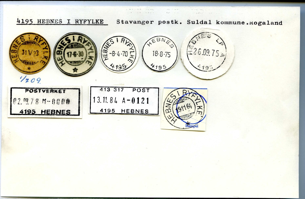 Stempelkatalog. 4195 Hebnes i Ryfylke, Stavanger post., Suldal kommune, Rogaland