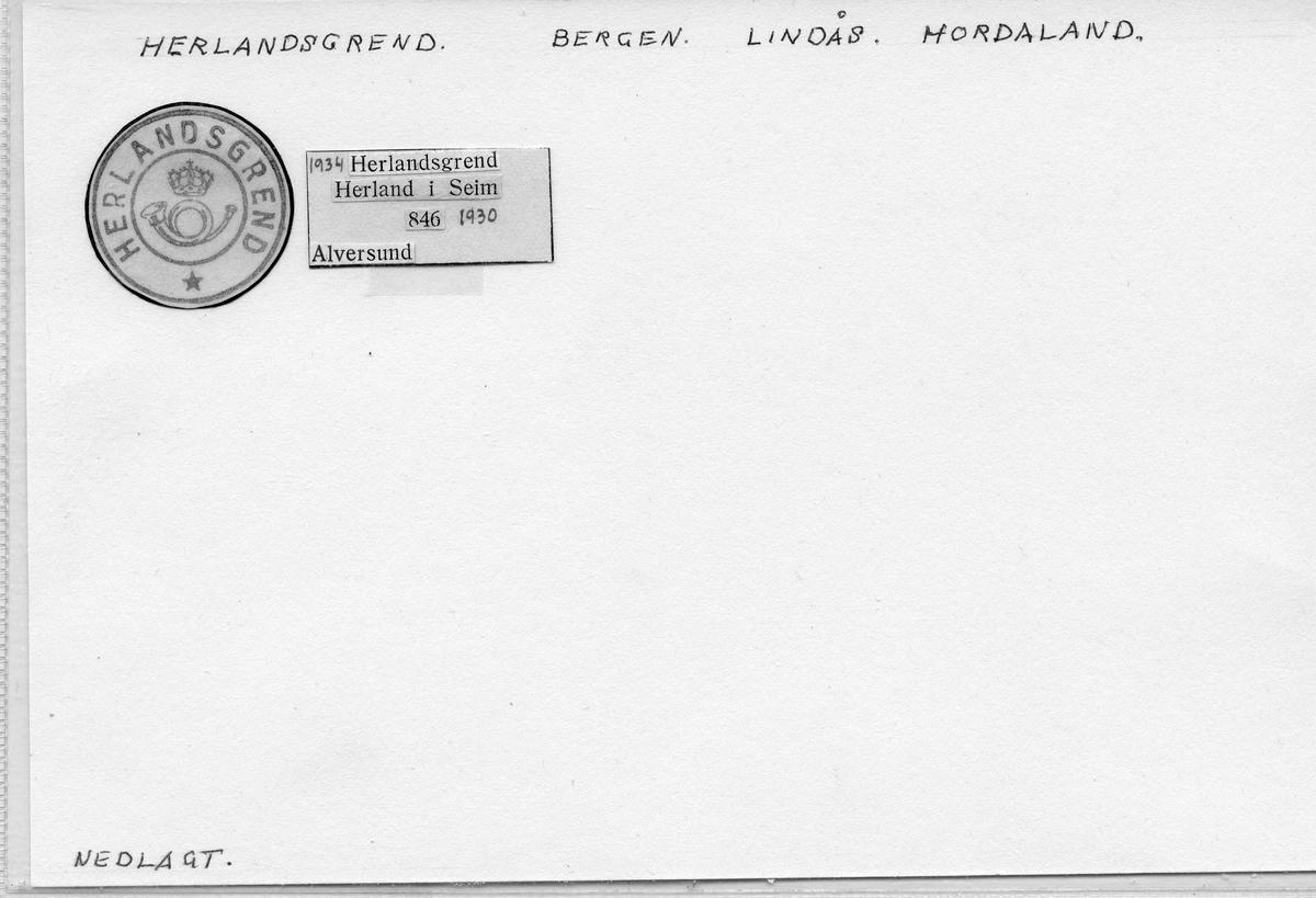 Stempelkatalog: Herlandsgrend, Bergen, Lindås, Hordaland