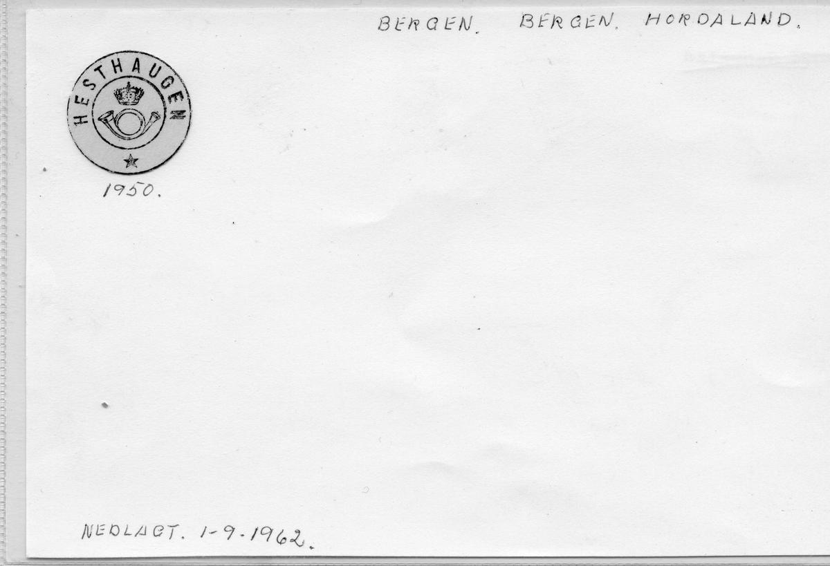 Stempelkatalog: Hesthaugen, Bergen postk., Bergen kommune, Hordaland