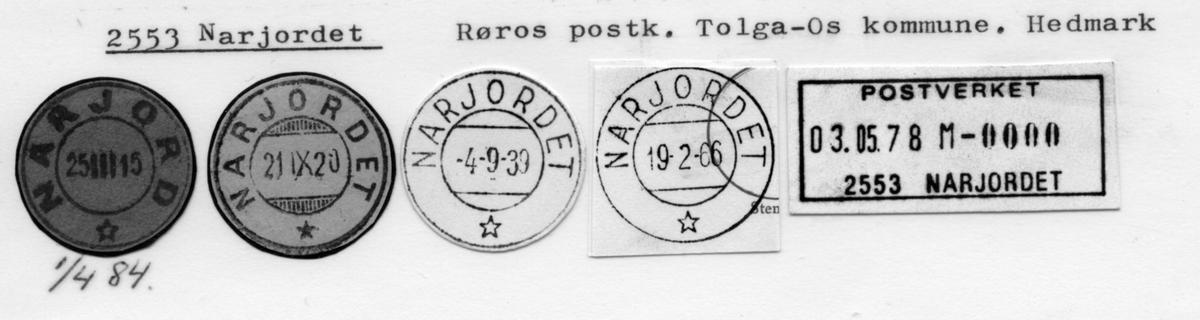 Stempelkatalog 2553, Narjordet (Narjord), Røros, Tolga-Os, Hedmark