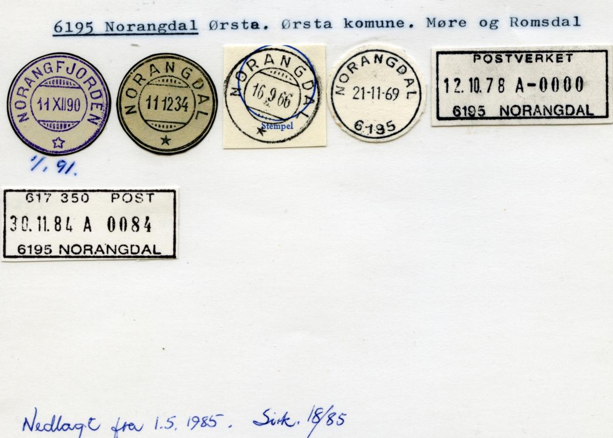 Stempelkatalog. 6195 Norangdal. Ørsta postkontor. Ørsta kommune. Møre og Romsdal fylke.