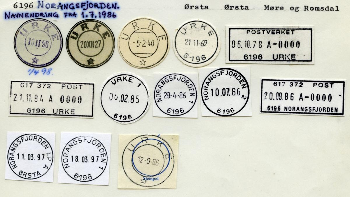Stempelkatalog  6196 Norangsfjorden, Ørsta kommune, Møre og Romsdal (Navneendring fra 1.7.1986 fra Urke til Norangsfjorden)