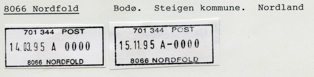 Stempelkatalog. 8066 Nordfold. Bodø postkontor. Steigen kommune. Nordland fylke.