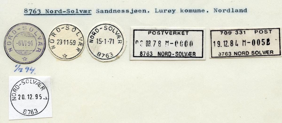 Stempelkatalog. 8763 Nord-Solvær. Sandnessjøen postkontor. Lurøy kommune. Nordland fylke.
