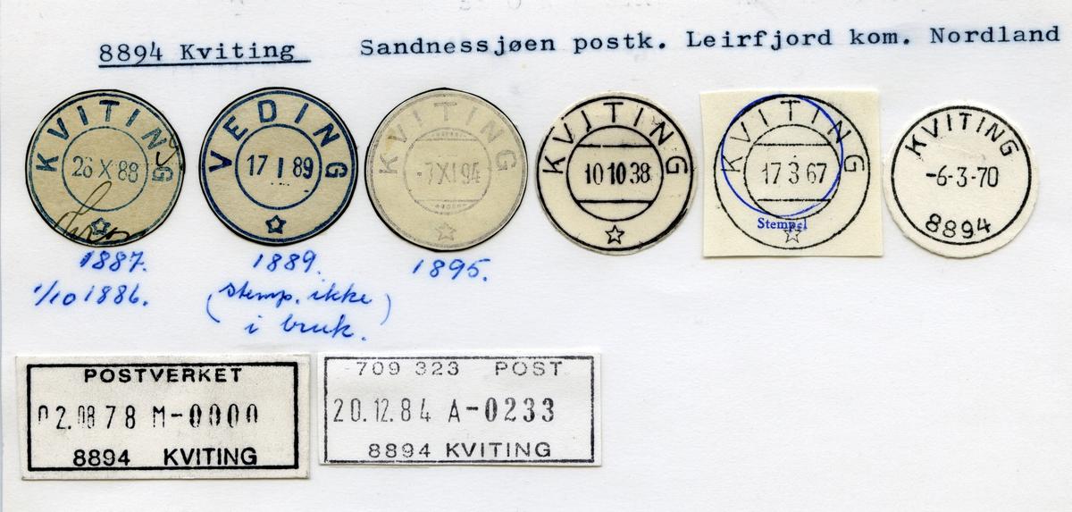 Stempelkatalog 8894 Kviting (Veding), Sandnessjøen, Leirfjord, Nordland