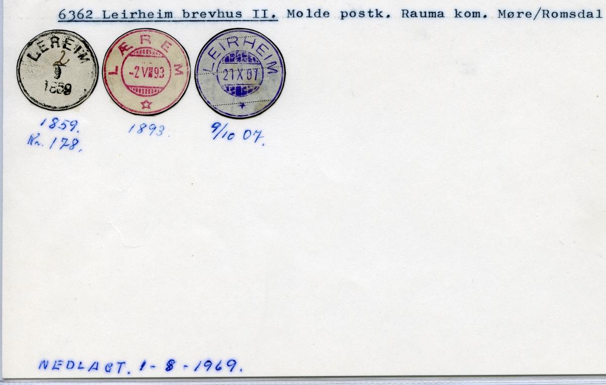 Stempelkatalog 6362 Leirheim (Lereim, Lærem), Molde, Rauma, Møre og Romsdal