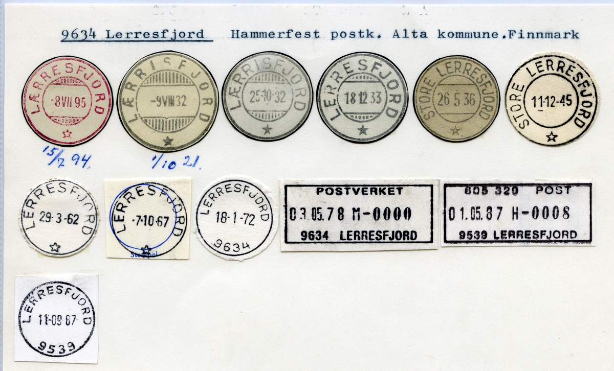 Stempelkatalog 9634 Lerresfjord (Lærresfjord, Lærrisfjord, Store Lerresfjord), Hammerfest, Alta, Finnmark