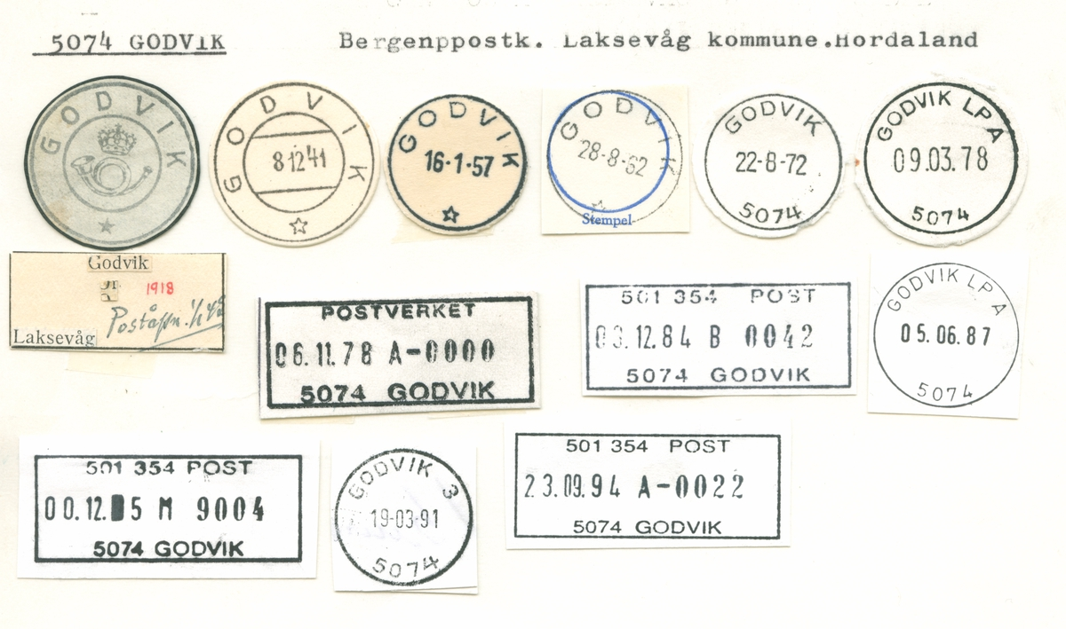 Stempelkatalog 5074 Godvik, Bergen, Laksevåg, Hordaland
