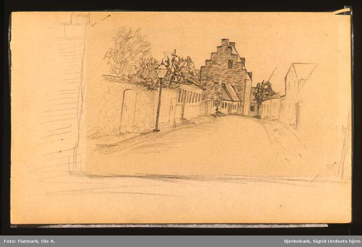 Hus, gate, tegning