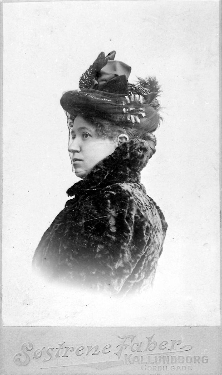 Kvinne, portrett, hatt, slør, pels