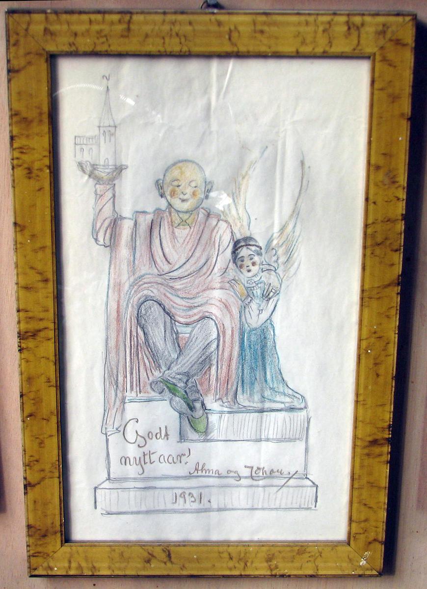 Karikatur; sittende budda m. kirke i opprakt v. hånd; h. arm om engel.