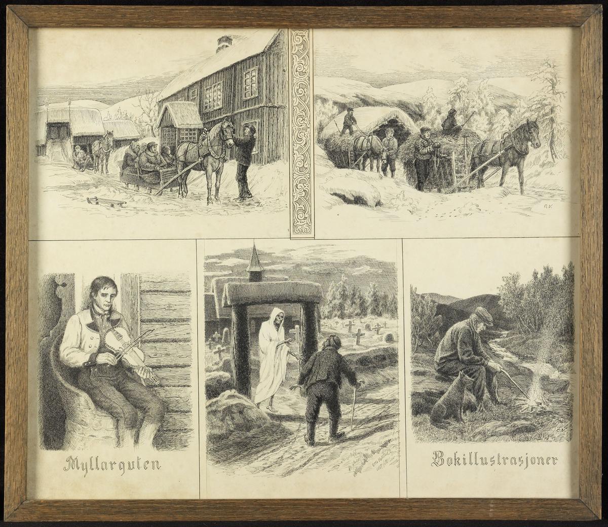 """Ned.f.v. mann i telemarksdrakt, m. fele, sittende i kubbestol, u. skr. """"Myllarguten""""; døden i kirkegårdsporten & gml. mann på veien; mann og hund v. bål i skog, u. skr. """"Bokillustrasjoner""""; øv.f.v. gårdstun m. to hester og sleder m. folk, sne; dek.ranke; 2 hester m. 2 høy- lass, 4 karer, sne."""