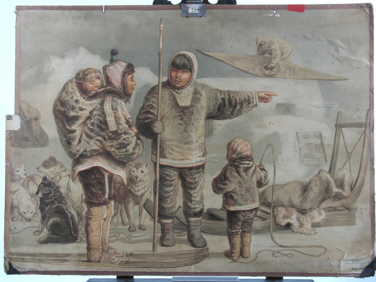Eskimoer. Hunder, mann med spyd, kvinne på ski med barn på ryggen, barn med pisk. Slede og kajakk.