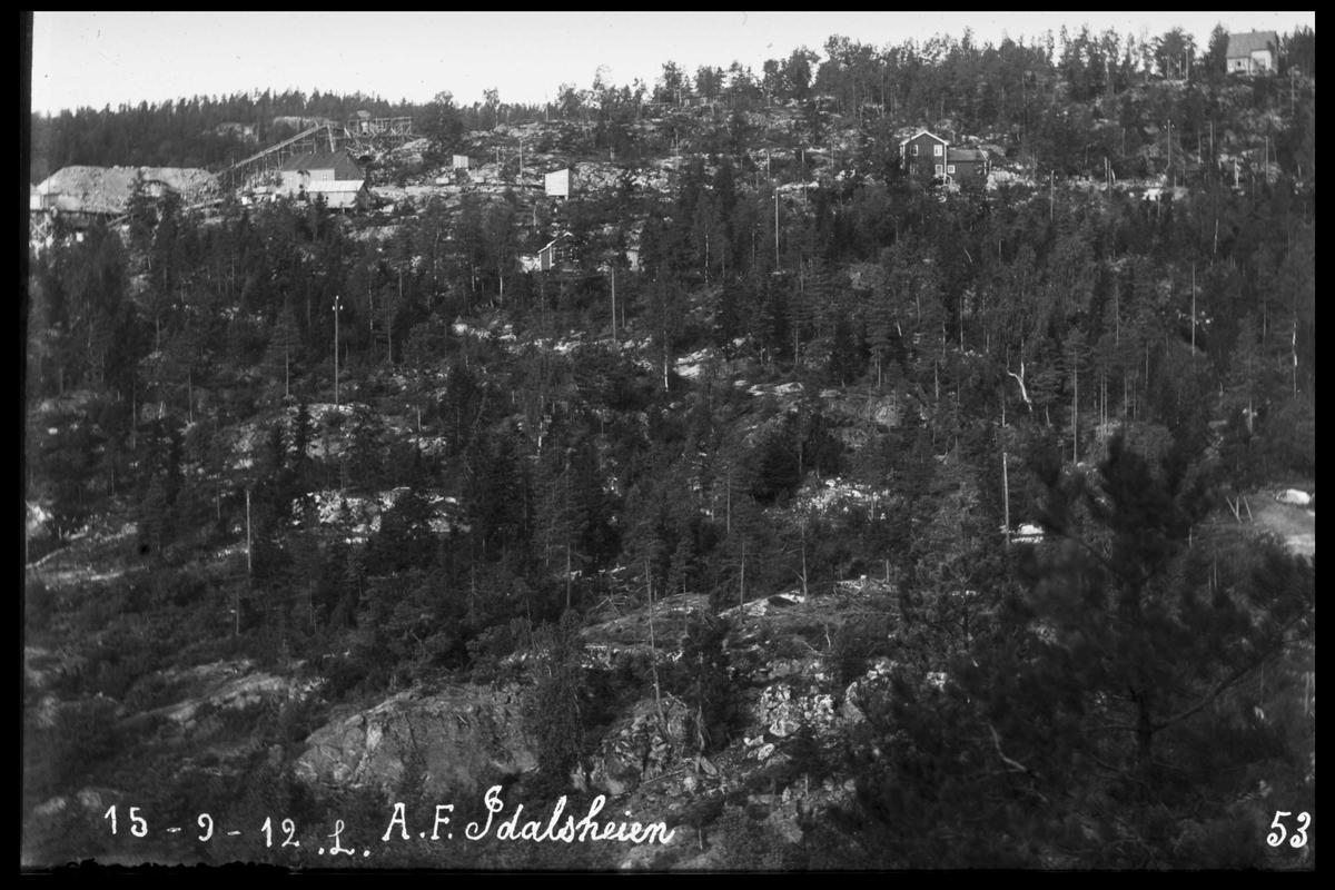 Arendal Fossekompani i begynnelsen av 1900-tallet CD merket 0010, Bilde: 8 Sted: Bøylefoss kraftstasjon i 1912 Beskrivelse: Idalsheia