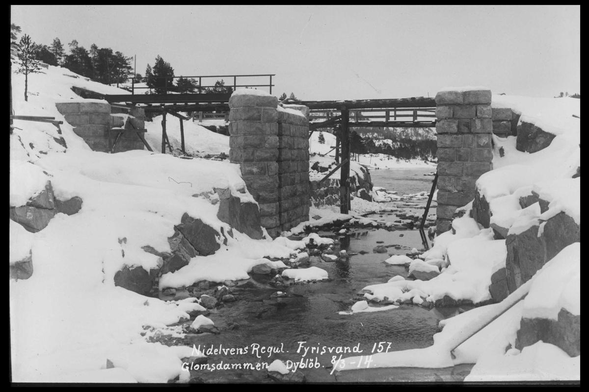 Arendal Fossekompani i begynnelsen av 1900-tallet CD merket 0474, Bilde: 51 Sted: Fyrisvann Beskrivelse: Glomsdammen
