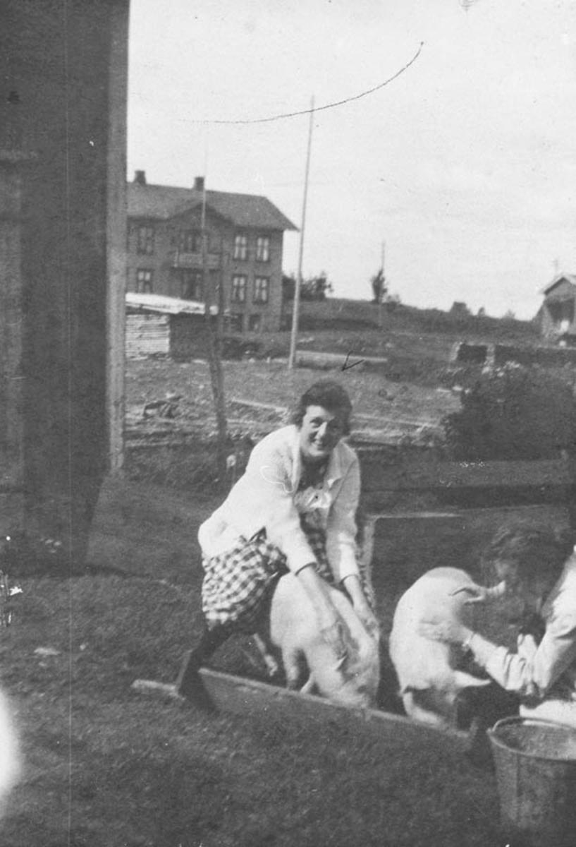 Heimdal/Villa Hushold, på bildet sees Lalla Weydal (f. Mørk) som steller griser.