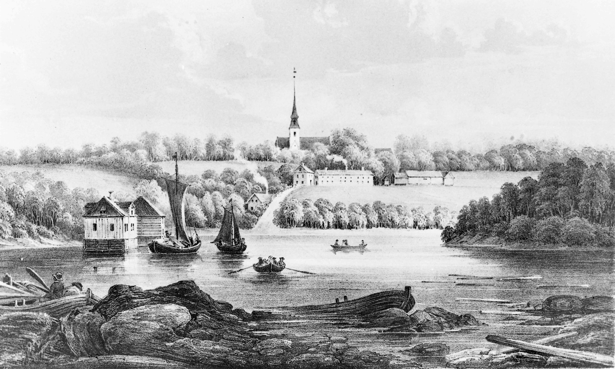 """Eidsvoll Bad. """"Eidsvollbakken i den tid da jernbanen blev bygget"""". Avfotografert maleri."""