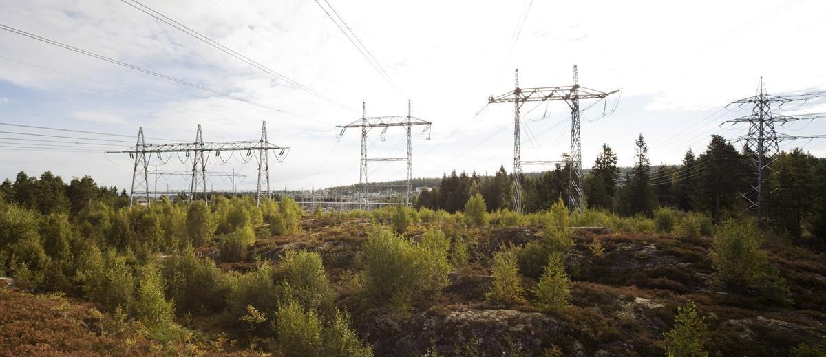 Høyspentmaster i Akershus. Høyspentmaster ved trafostasjon ved Ausenfjellet. Fotografiet er tatt mot øst.