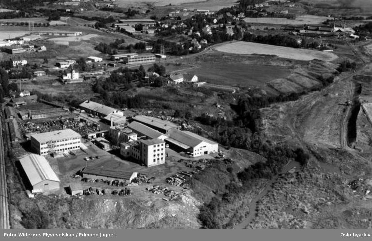 Kjemisk fabrikk, Alnaelva, tønner, Alna teglverk, Nedre Breivoll (Flyfoto)