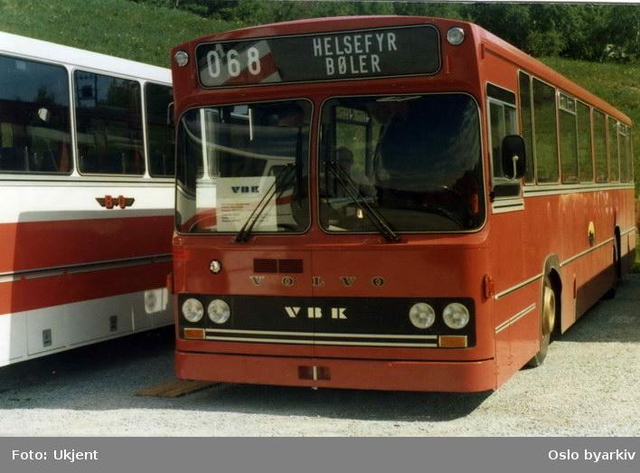 Oslo Sporveier. En Volvo bussmodell fra siste halvdel av 1970-årene. Linje 68 mellom Helsfyr og Bøler. Legg merke til feilstavingen!