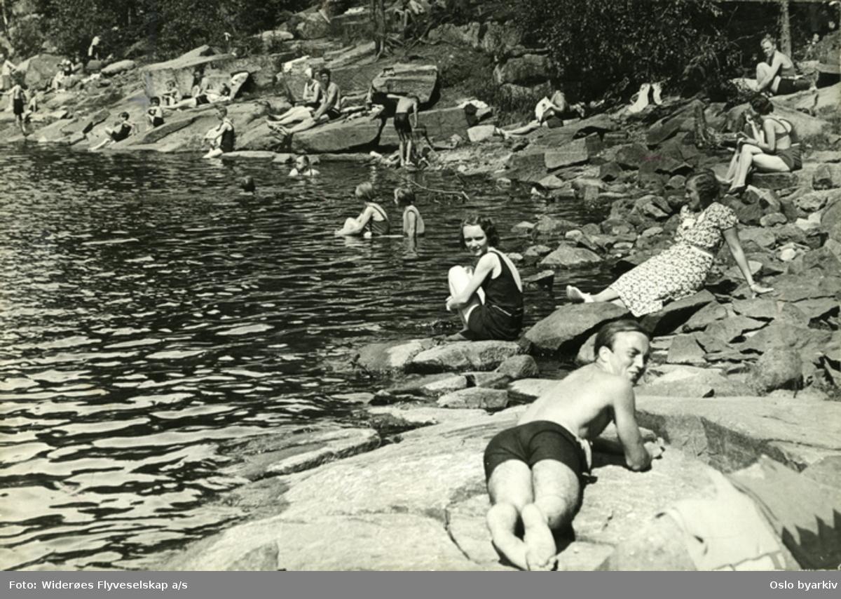 Sol og bad ved Bunnefjordens østre side. Skog og steinete område langs strandkanten.