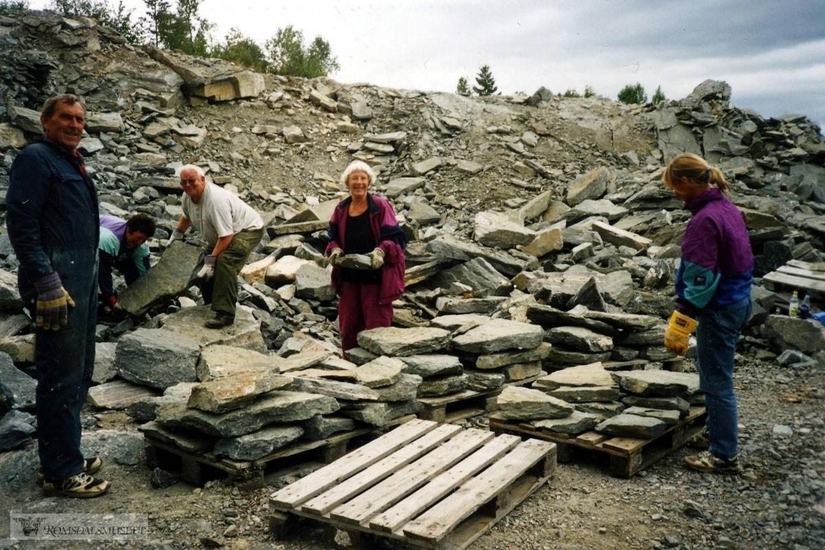 2002. Ny høst og stabling av flere heller. 9 paller tilsammen som blir kjørt til Damefallet.