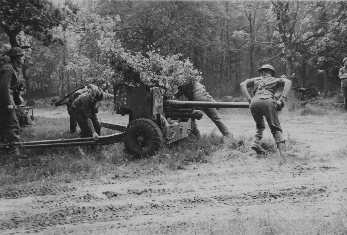 Eksersis med 6 punds panservernkanon. Tysklandsbrigaden.