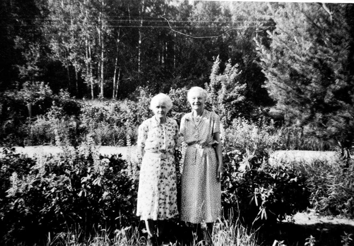 Marta Evensdatter Simensen f.1878 og nabokone, Raknerud søndre, Helgøya. Marta gift i Amerika med Bernhard Simensen Petersborg.