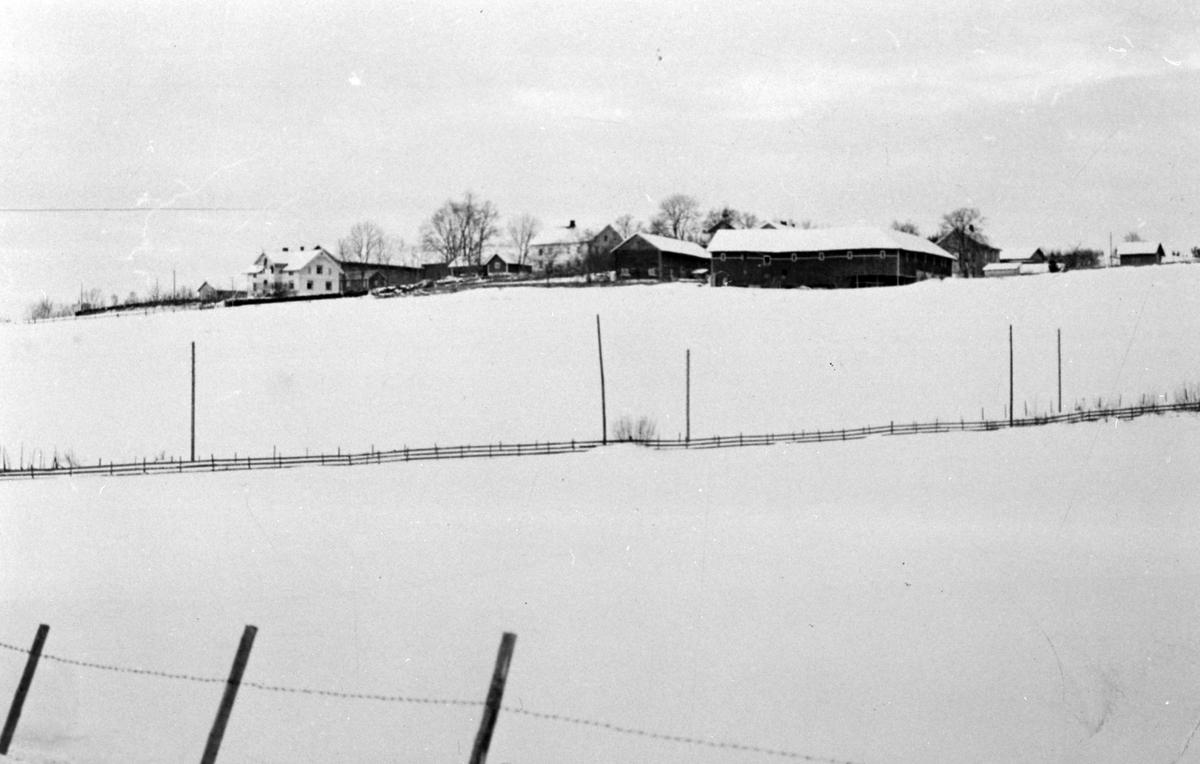 Hovegårdene, Furnes, Ringsaker, ca. 1960, vinter og snø.