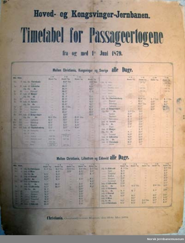 Rutetabell for persontogene på Hoved- og Kongsvingerbanen - 1.6.1879