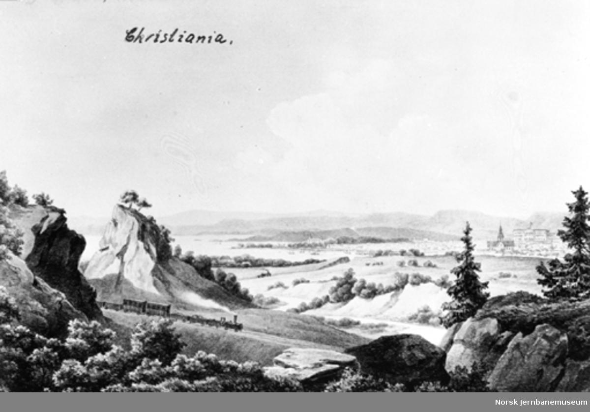 Fotografi av en litografi med et jernbanetog i forgrunnen og Oslo i bakgrunnen