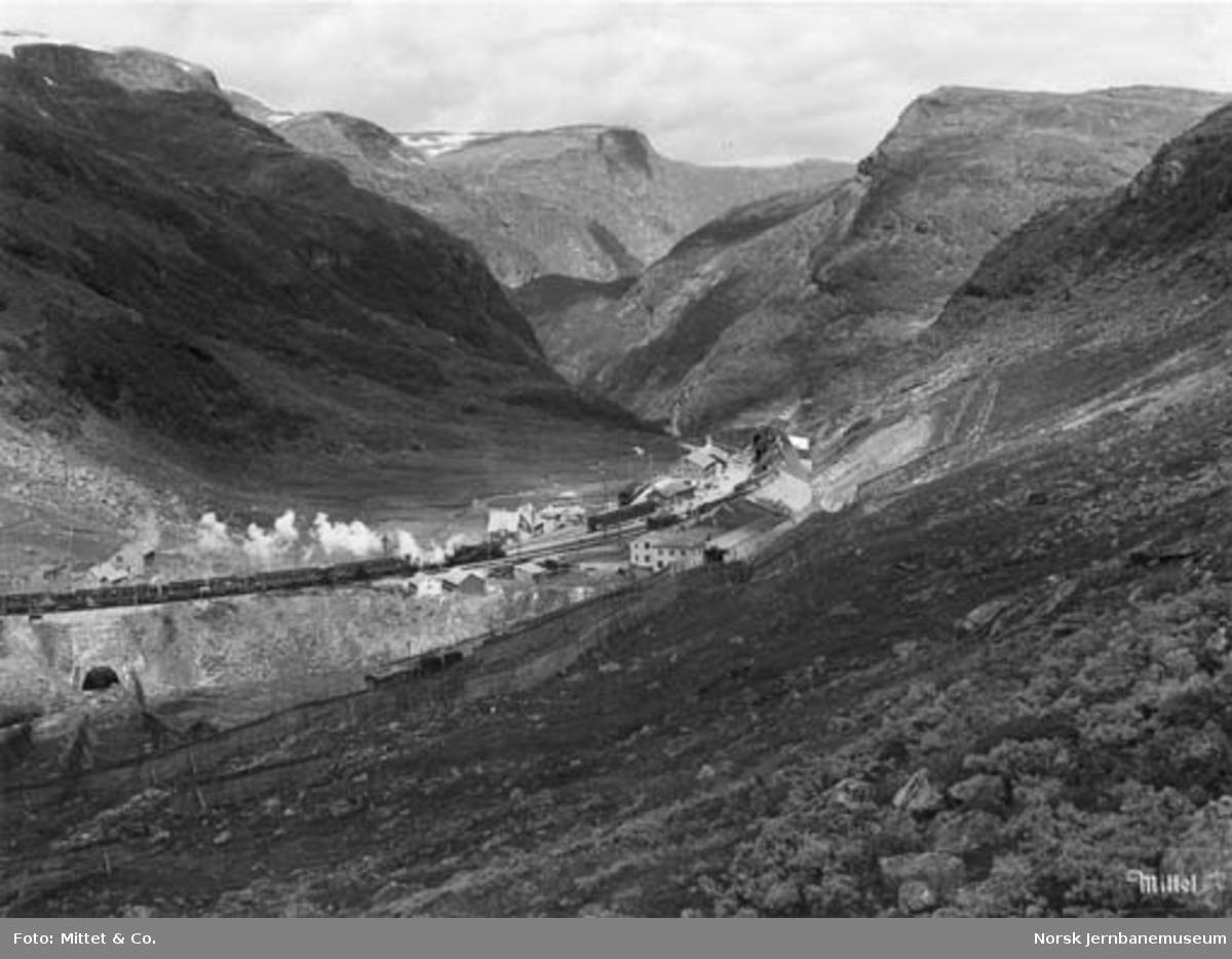 Myrdal stasjon : oversiktsbilde med ankommende tog fra Bergen