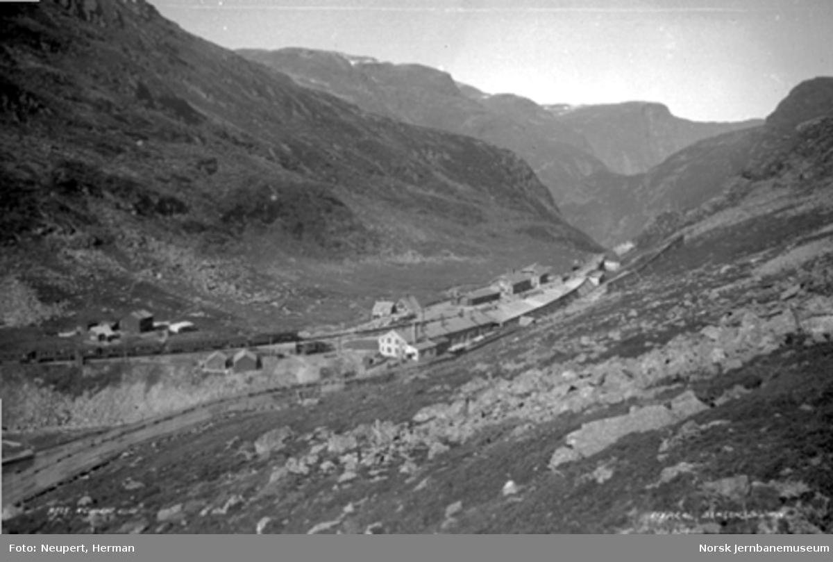 Oversiktsbilde over Myrdal stasjon sett fra sørøst; persontog fra Bergen kjører inn på stasjonen