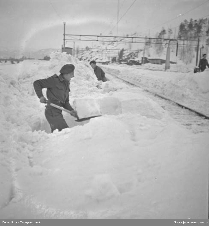 Snørydding på Nelaug og Treungenbanen : rydding på Nelaug stasjon