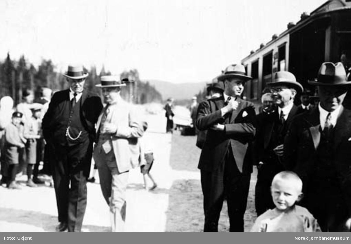 Fra Sperillbanens åpning : deltakerne på Hallingby ved hjemreisen