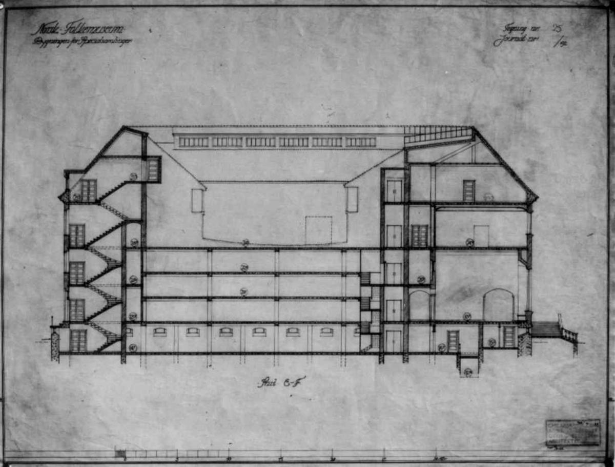 Plantegninger, fra 1925, fra arkitektene Bjercke og Eliassen. Utkast til nye museumsbygninger. Her  et tverrsnitt av bygningen for spesialsamlingene.